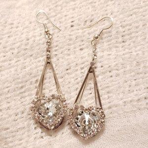 Heart Shaped Rhinestone Dangle Earrings